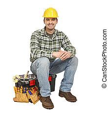 fiatal, manual munkás, és, szerszámosláda