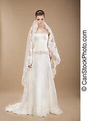 fiatal, menyasszony, alatt, esküvő, csipkés, ruha, felett, barna háttér