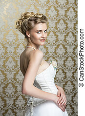 fiatal, menyasszony, noha, gyönyörű, esküvő, frizura