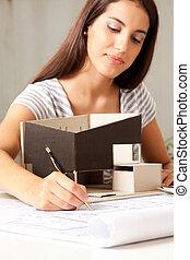fiatal, női, építészmérnök, noha, formál, épület