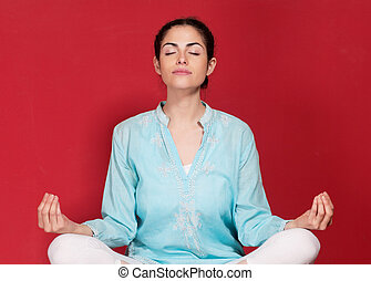 fiatal, női, cselekedet, yogatic, gyakorlás