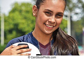 fiatal, női tízenéves kor, futball játékos, mosolygós