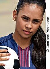fiatal, női tízenéves kor, futball játékos