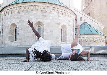 fiatal, pár, capoeira, társas viszony, sport