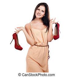 fiatal, piros, nő, cipők