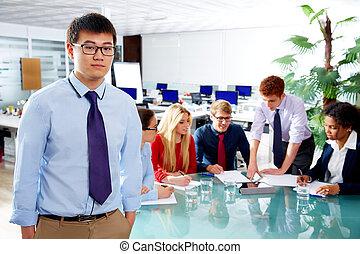 fiatal, portré, végrehajtó, ázsiai, üzletember