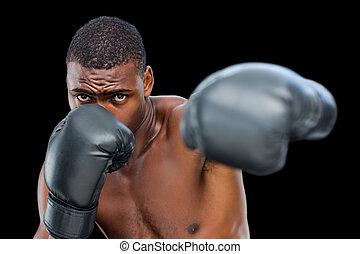 fiatal, shirtless, hím, bokszoló, támadó, noha, övé, bal
