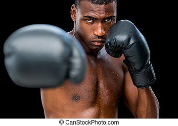 fiatal, shirtless, hím, bokszoló, támadó, noha, övé, helyes