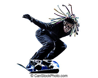fiatal, snowboarder, ember, árnykép