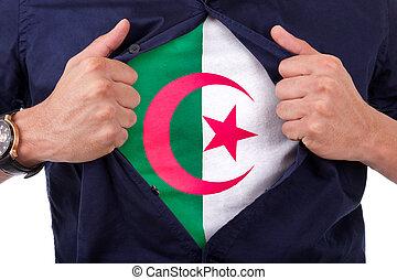 fiatal, sport, rajongó, nyílás, övé, ing, és, kiállítás, a, lobogó, övé, algéria, algerian lobogó