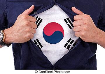 fiatal, sport, rajongó, nyílás, övé, ing, és, kiállítás, a, lobogó, övé, dél-korea, south korean lobogó