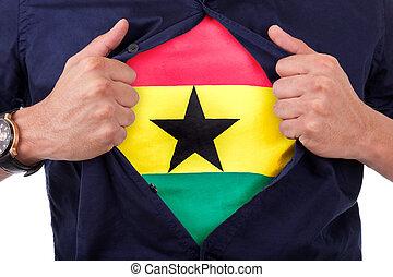 fiatal, sport, rajongó, nyílás, övé, ing, és, kiállítás, a, lobogó, övé, ghána, ghanaian, lobogó