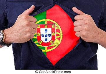 fiatal, sport, rajongó, nyílás, övé, ing, és, kiállítás, a, lobogó, övé, ország, portugália, portuguese lobogó