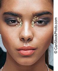 fiatal, szépség, african american woman, noha, mód, kiegészít