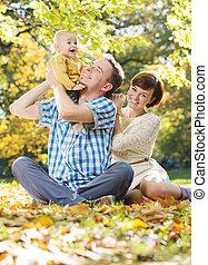 fiatal, szülők, idő, csecsemő, kímél, élvez
