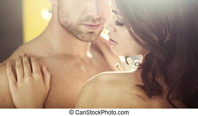 fiatal, szerelmes pár, közben, a, nászút