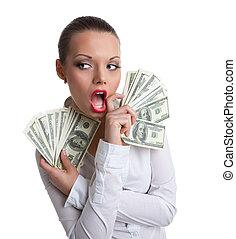 fiatal, szexi, nő, noha, batyu, közül, pénz, megtöröl, egy, száj
