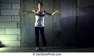 fiatal, táncol., ember