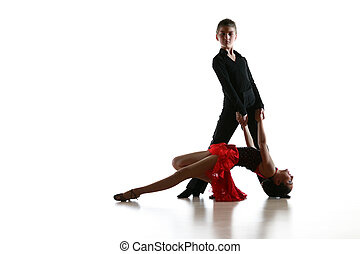 fiatal, táncosok, alatt, latin, táncol színlel