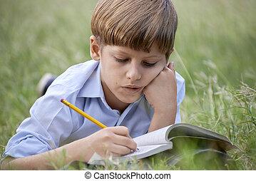 fiatal, tanít fiú, cselekedet, lecke, egyedül, elterül fű