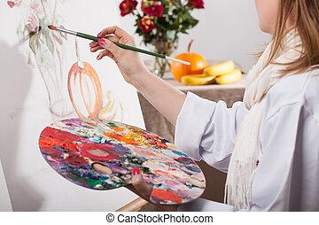 fiatal, tehetséges, nő, festmény