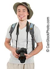 fiatal, természetjáró, noha, fényképezőgép