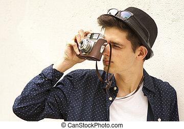 fiatal, természetjáró, noha, fényképezőgép, utazás