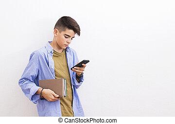 fiatal, tizenéves, hallgató beír