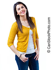 fiatal, vidám woman, külső külső fényképezőgép