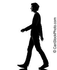 fiatalember, árnykép, bús, gyalogló