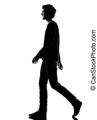 fiatalember, árnykép, mosolygós, gyalogló