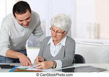 fiatalember, ételadag, öregedő woman, noha, aktagyártás