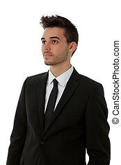 fiatalember, alatt, black öltöny