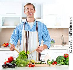 fiatalember, cooking., egészséges táplálék, -, növényi, saláta
