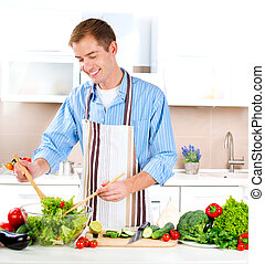 fiatalember, cooking., egészséges, táplálék., növényi, saláta