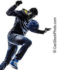 fiatalember, futball, freestyler, játékos, árnykép