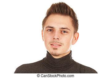 fiatalember, képben látható, egy, white háttér