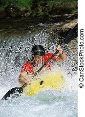 fiatalember, kayaking, alatt, folyó