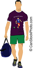 fiatalember, noha, bag., vektor, illustra