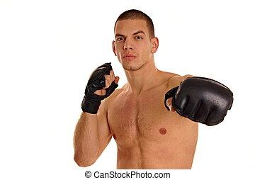 fiatalember, noha, bokszoló