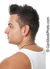 fiatalember, noha, spiky szőr
