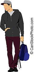 fiatalember, noha, táska, elszigetelt, képben látható, jottányi