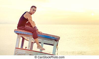 fiatalember, van, ülés, képben látható, a, tető, közül, a, elmerült, ship.