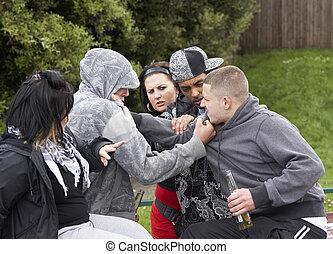 fiatalság, csoport, küzdelem