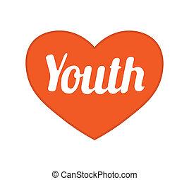 fiatalság, fogalom, grafikus szimbólum, tervezés