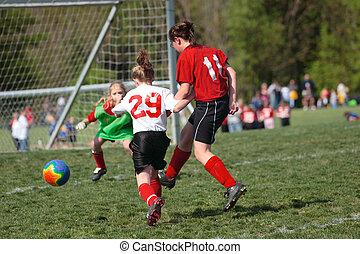 fiatalság, játék, futball