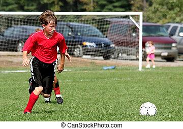 fiatalság, játékos, futball