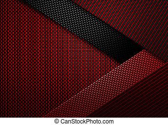 fiber, abstrakt, material, design, strukturerad, kol, röd