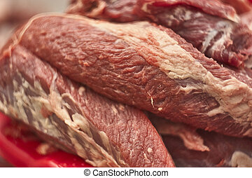 Fiber and details of calf meat
