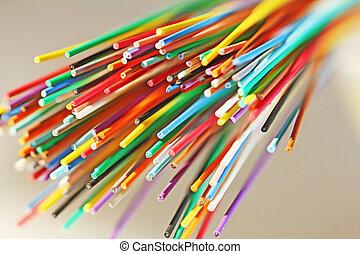 fiber, nätverk, kabel, uppe, optisk, nära